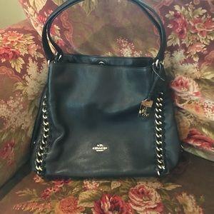 Black Coach Edie Hobo Bag with Chain Detail